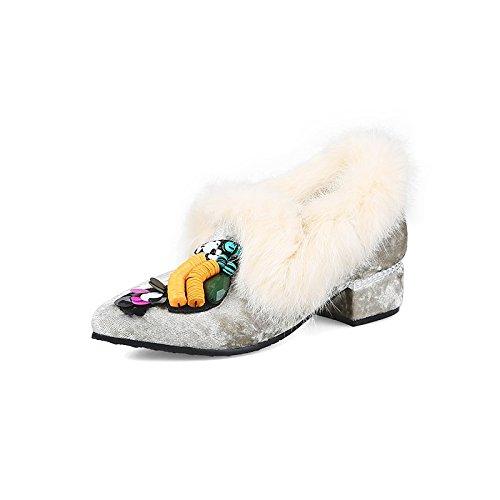 Dimaol Chaussures Femme Printemps Velours Automne Talons Confort Chunky Talon Toe Le Cordon Pour Robes De Mariée Rose Gris Café Gris