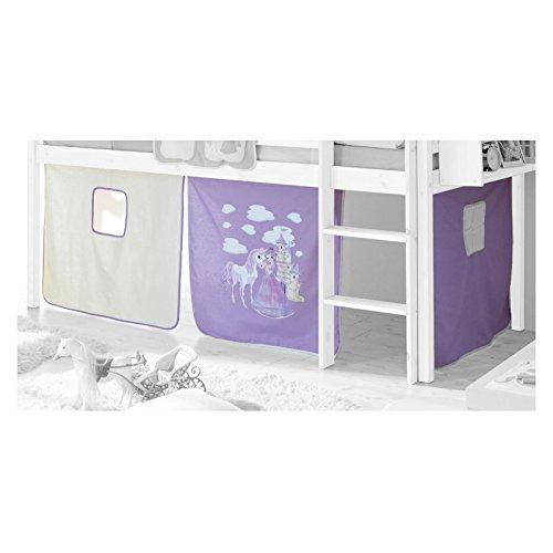 IDIMEX Vorhang Gardine Bettvorhang, PRINZESSIN, lila-weiß