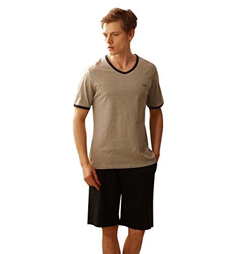 Surenow Conjunto de Pijama Camiseta y Pantalones Cortos de Pijama para Hombre de Algodón para Casa Hogar Dormir para Primavera Verano Otoño