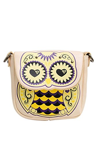 Donne Signore Ragazze Cartoon Owl e Floreali borsa Croce Corpo borsa Messenger Borsa a Tracolla Singola Satchel Black Bianco