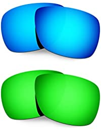 Hkuco Mens Replacement Lenses For Oakley Inmate Blue/Green Sunglasses