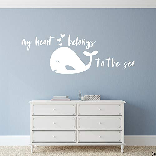 Wandtattoo/Wandaufkleber, Motiv My Heart Belongs to The Sea (englischsprachig), 30,5 cm breit, Vinyl, Multi, 22 Inch In Width