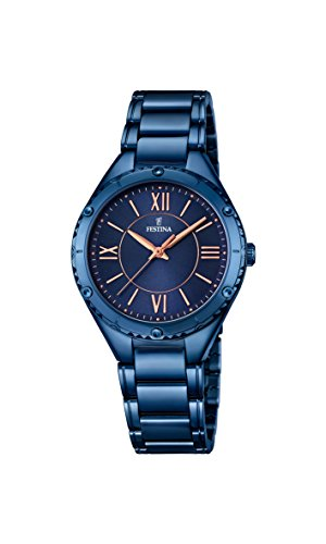 Festina BOYFRIEND Women's Quartz Watch with Blue Dial Analogue Display and Blue Stainless Steel Plated Bracelet F16923/2