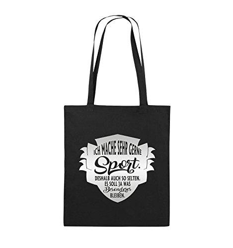 Comedy Bags - Ich mache sehr gerne sport deshalb auch so selten - Jutebeutel - lange Henkel - 38x42cm - Farbe: Schwarz / Pink Schwarz / Silber