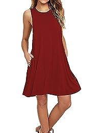 SUNNOW Corto sin mangas de las mujeres del vestido atractivo de la playa del vestido del vestido ocasional del verano Ronda de cuello suelto con el bolsillo