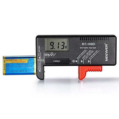 Neewer® bt-168d Digital battery tester Volt Checker per AA AAA C D 9V 1.5V batterie a bottone