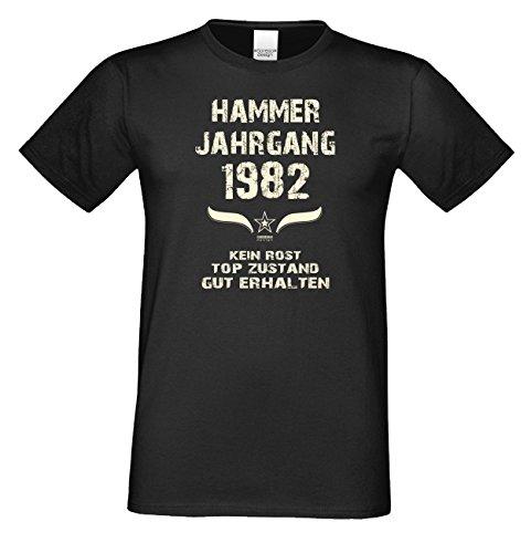 Geschenkidee zum 34. Geburtstag :-: Herren kurzarm Geburtstags-Sprüche-T-Shirt mit Jahreszahl :-: Hammer Jahrgang 1982 :-: Farbe: schwarz Schwarz