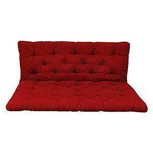Ambientehome Palettenkissen mit Rückenlehne, rot, Sitzpolster 120 x 80, Rückenkissen 120 x 60 cm, Indoor & Outdoor