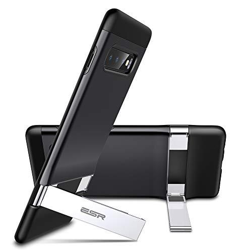 ESR Cover con Cavalletto in Metallo per Samsung S10 Plus/S10+, [Supporto Verticale e Orizzontale][Protezione Anticaduta Rinforzata] Retro in PC Rigido con Paraurti Flessibile per S10 Plus/S10+, Nero