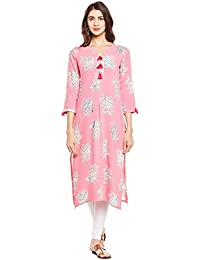 Viscose Rayon Printed Straight Kurta With Tassel