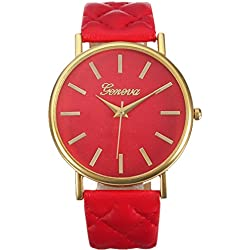 WINWINTOM Women Roman Leather Quartz Wrist Watch Red