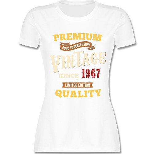 Geburtstag - 50. Geburtstag Vintage 1967 - tailliertes Premium T-Shirt mit Rundhalsausschnitt für Damen Weiß