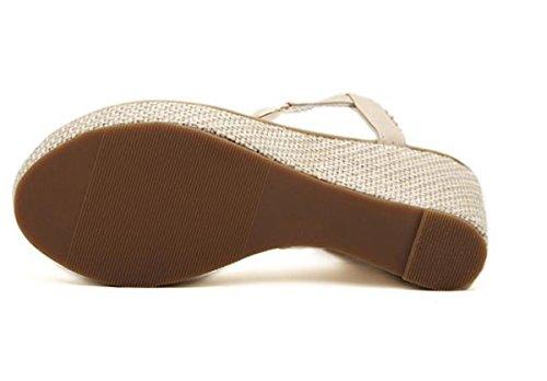 SHUNLIU Frauen Sommer Sandalen Klippzehesandelholze Mit hohen Absätzen Strand Schuhe Weiß