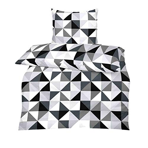 TOP Bettwäsche Garnitur in vielen Qualitäten und Größen mit RV in über 30 verschiedenen Mustern (Gray Weiss, 135x200cm Microfaser 2tlg)