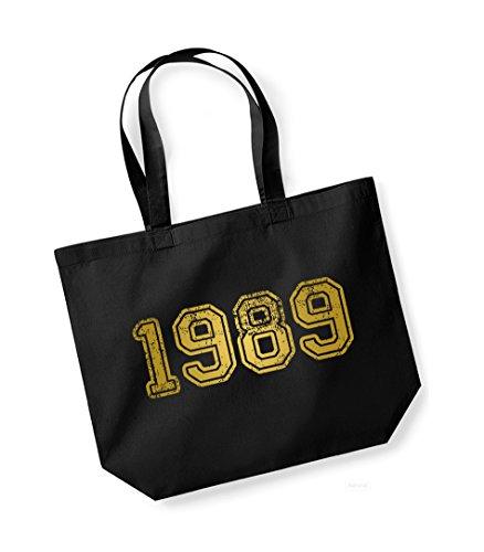 1989 - Large Canvas Fun Slogan Tote Bag Black/Gold