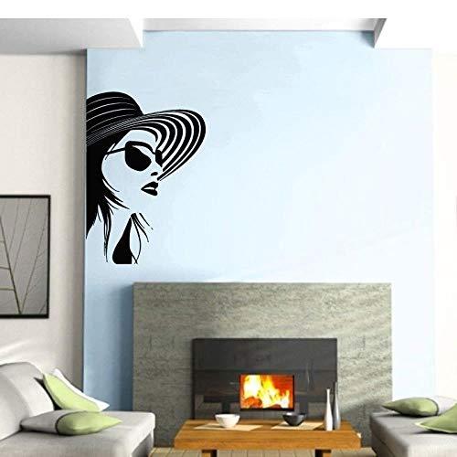 CYJQT Wandaufkleber Wanddekoration Schönheitssalon Nail Art Stil Brille Mädchen 42X60 Cm Bekleidungsgeschäft Vinyl Aufkleber Mädchen Selbstklebende Diy Wandkunst Wandbilder