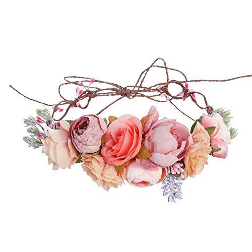 Blumenkrone Blumen Stirnband Hochzeit Haarkranz - Handgefertigt Bohemien Einstellbar Blumenstirnband mit Band für Frauen Mädchen Festival Kopfschmuck Hochzeitsgesellschaft Haarschmuck (Rosa + Orange)