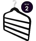 """Multi Tier Velvet Non Slip Trouser Hanger Pant Hanger, 17.7"""" X 16.7"""" Inch (Set of 2) Black"""