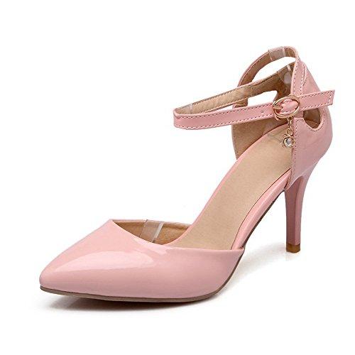 AgooLar Femme Pointu Stylet Matière Mélangee Couleur Unie Boucle Chaussures Légeres Rose
