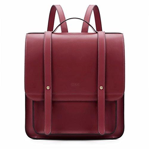 ECOSUSI Borsa Messenger Donna Borsa Laptop in PU Pelle Morbido Borsa Cartella per 14.7 Pollici Borsa a Zaino con Portafoglio, Rosso
