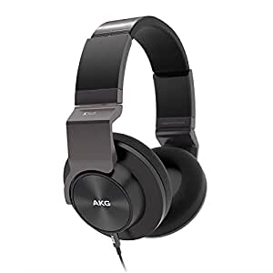 AKG K545 Portable Foldable Closed Back Over-Ear Soft Headphones with Volume Control and Microphone Compatible with Apple iOS and Android Devices - Black
