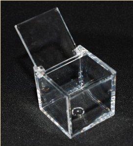 100 scatole cubo plexiglass 5x5x5 cm trasparente x confetti