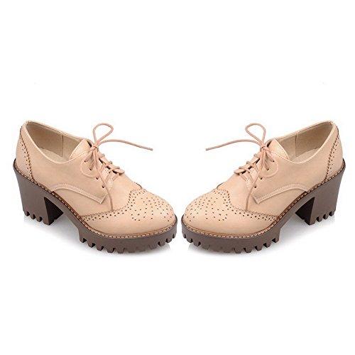 AgooLar Damen Rein Blend-Materialien Schnüren Rund Zehe Pumps Schuhe Aprikosen Farbe