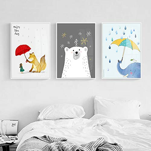 ZSHSCL Impresión En Lienzo Pintura 3 Piezas Animales De Dibujos Animados Pinturas En Lienzo Viveros Kawaii Carteles E Impresiones Arte De La Pared Nórdica Imágenes para Niños Dormitorio Decoración