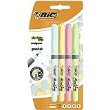 BIC Highlighter Grip Pastel - Blíster de 4 unidades, marcadores punta ajustable, colores surtidos