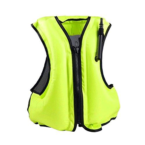 Rrtizan Unisex-Erwachsene Tragbar Aufblasbare Schwimmweste Auftriebshilfe Fischen-Weste ideal für den Wassersport, Schnorchelnd,Schwimmen, Fahren, Surfen, Tauchen, Bootfahren, Kayaking, Canyoning