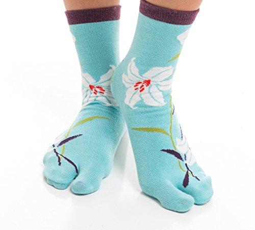 V-Toe Flip Flop Tabi Socken - Blau Mit Hawaiianischer Blume