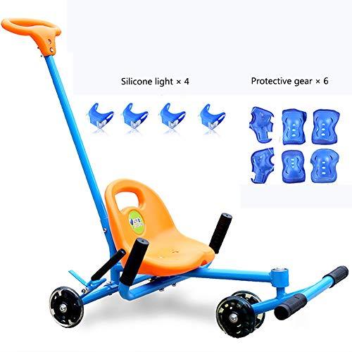 ROCK1ON Kinder Kleinkinder Roller Scooter,Tretroller mit 6 Schutzausrüstung,Twist Pedal den Füßen,Dreiräder mit 3 leuchten Räder für Jungen und Mädchen ab 2-7 Jahre(Blau)