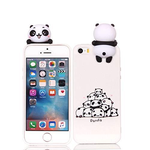 Case für 5S, Cartoon Handyhülle für iPhone 5S/5, Vemos Niedlich 3D Karikatur Tiere Dünn Weich Silikon Tpu Handy Rückseite Schutzhülle Kinder Mädchen Geschenk Stoßfest Etui - Weiß Pandas