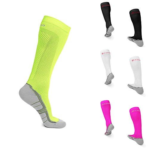 Performance Kompressions Socken (Kaizen Kompressionsstrümpfe High Performance Sport Socken Stützstrümpfe Kompressionssocken (Neon Gelb, EU 43-47 /// UK 9,5-12,5))