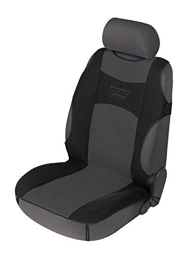 Walser 12647 Autositzbezug Tuning Star T-Shirt Design, Sitzbezug, Autoschonbezug in Schwarz / Grau - TÜV-geprüft auf Seitenairbagtauglichkeit