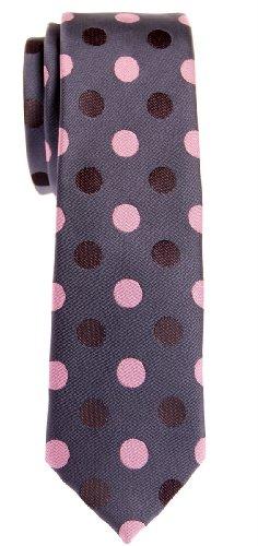 Retreez Herren Schmale Gewebte Krawatte Punktmuster 5 cm - dunkelgrau mit rosa punkten