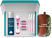 LetsShave Evior 6 All in One Combo Gift Set for Women (1 Razor Handle, 2 Blades Cartridge, 2 Blade Cases, 3 Fa
