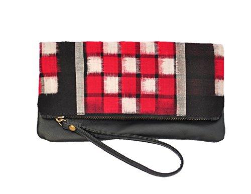 at-ikat-indian-da-donna-rosso-and-nero-fold-clutch-borsetta-cum-ipad-manica-sera-partito-borsa