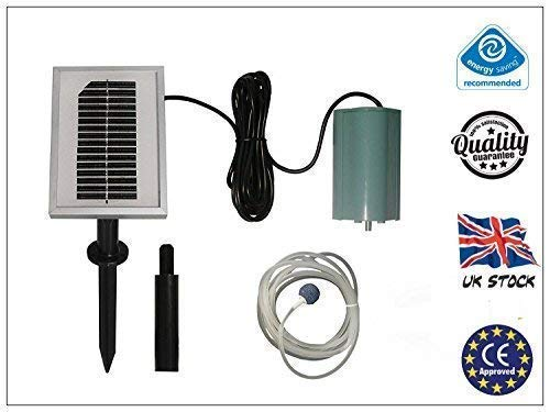 garden mile® 120LPH SOLAR POWERED OXYGENATOR POND WATER OXYGEN PUMP 1 AIR STONE FOUNTAIN AERATOR