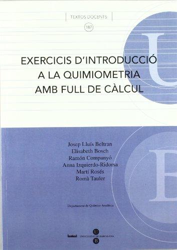 Exercicis d'Introducció a la quimiometria amb full de càlcul por Anna Izquierdo Ridorsa