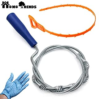 Kungfu Mall Flexible Sink Drain Snake Hair Drain Cleaner Tool for Tub, Sink, Shower, Basins and Pipes, along with a free brush as a gift