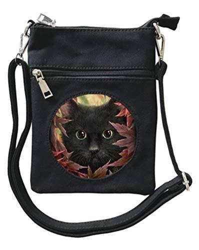 Cat Mad Designs Linda Jones Handtasche für Damen, mit Katzen-Motiv, Leinen, Schwarz