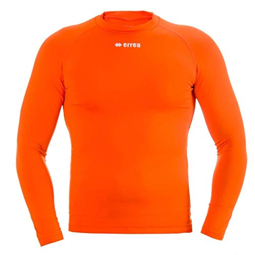 ERMES AD Funktionsshirt (langarm) von Erreà · ERWACHSENE Damen Herren Sport Unterziehshirt (lang) aus Polyester · BASIC Slim-Fit Shirt (elastisch) für Teamsport · BASELAYER Kompressionsshirt (endotherm) geringe Kompression (Farbe orange, Größe L/XL)