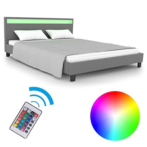 Homelux LED Bett Polsterbett Doppelbett Kunstlederbett Bettgestell Bettrahmen 160 x 200 cm Grau