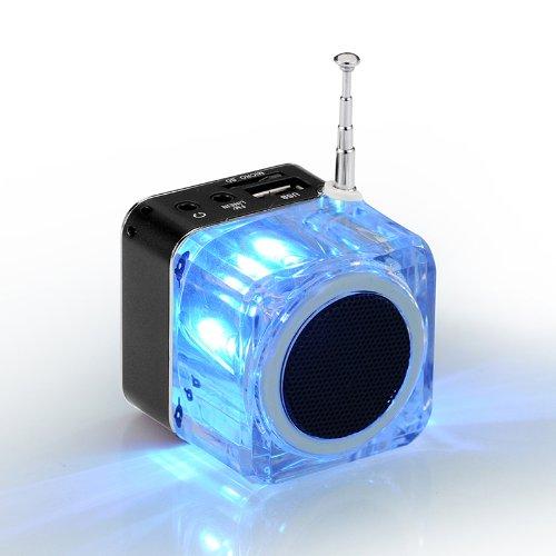 Andoer Mini Digital Altoparlante Portatile di Musica MP3/4 Player TF USB Disk FM Radio con Antenna Telescopica e Uscita Cuffie Funzioni Nero