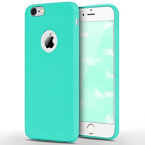 Coque iPhone 6 / iPhone 6S, Yokata Solide Mat Anti-Fingerprint Case Housse Étui Soft Doux TPU Silicone Flexible Backcover Ultra Mince Coque - Bleu