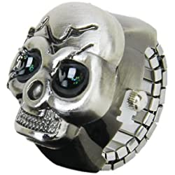 Bronze Flip-Up Skull Cover Finger Ring Watch Stretchy Watchband for Unisex--Battery Included, Ideal for Skull Lover