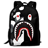 Sacs à Cordon,Sacs de Sport,Sacs à Dos Loisir, Bape Blood Shark Half Black Camo Backpack College School Travel Bags Waterproof Shoulder Backpacks for Men Women
