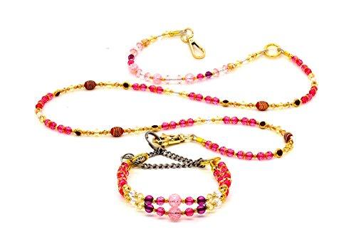 Lillypet-Collare-e-Guinzaglio-per-Cane-e-Gatto-Opale-Rosa-Perline-di-Diamante-Cristallo-Artificiale-Catena-in-Acciaio-Inossidabile