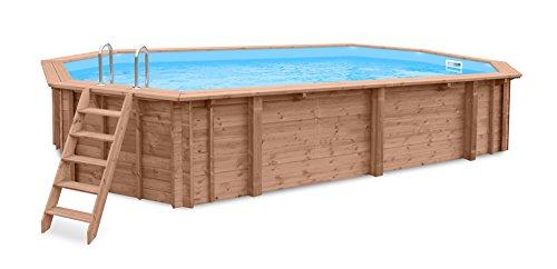 Interline 50700250 Bali Auf-und Erdeinbau Holzwand oval Pool 8,40m x 4,90m x 1,38m, Sandfilter 9m3/h